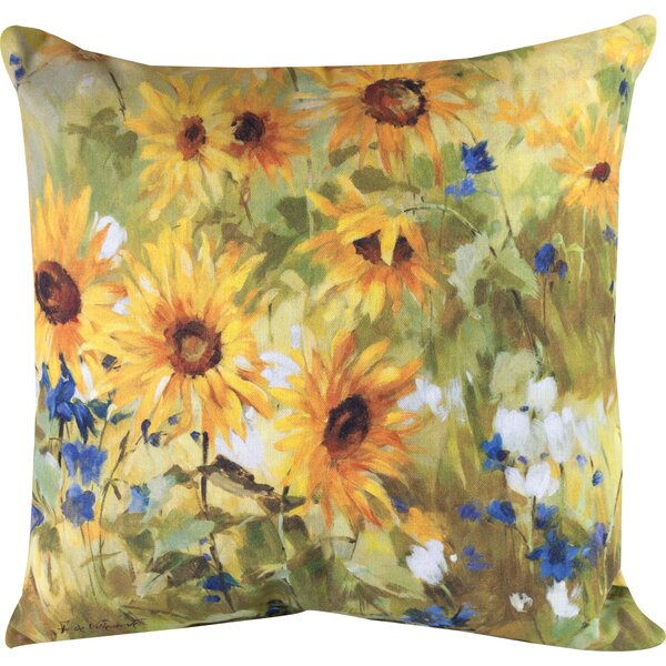 Sunflower Fields Knife Edge Throw Pillow by Manual Woodworkers & Weavers