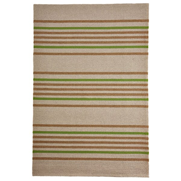 Mansfield Stripe Hand-Woven Brown/Green Indoor/Outdoor Area Rug by Bay Isle Home