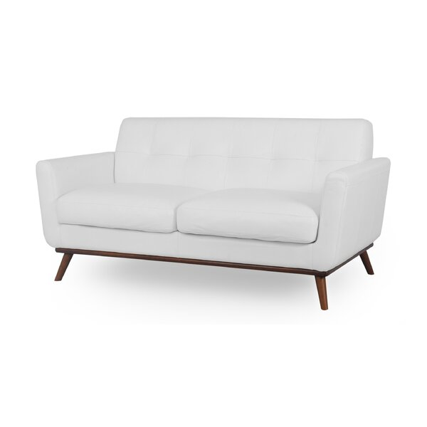 Luther Mid-Century Leather Loveseat by Corrigan Studio
