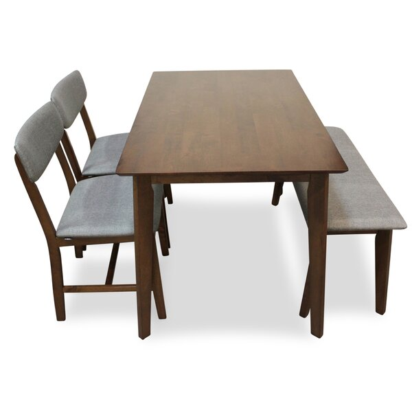 Aaru 4 Piece Solid Wood Dining Set by Union Rustic