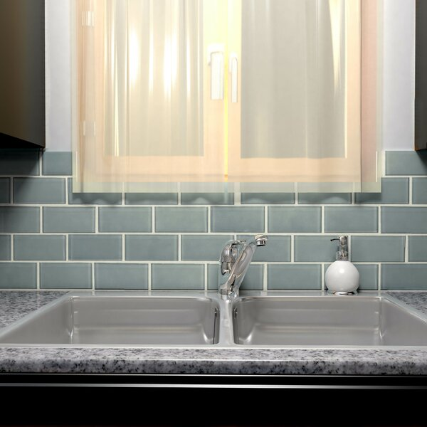 Sierra 3 x 6 Glass Subway Tile in Blue Smoke by EliteTile