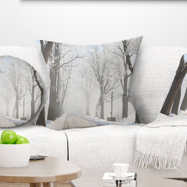Misty Rural Road in Winter Forest Pillow by East Urban Home