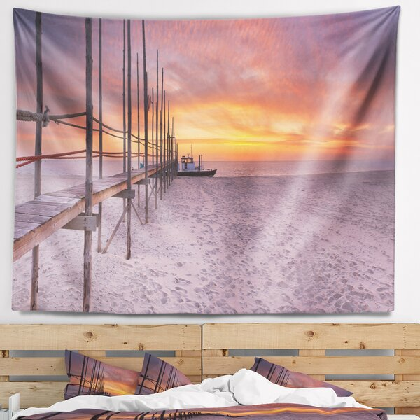 Seashore Texel Island Seaside Jetty Panorama Tapestry and Wall Hanging by East Urban Home