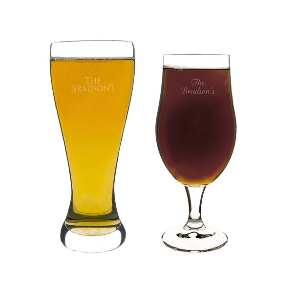 Custom His and Her Pilsner Glass 2 Piece Crystal Assorted Glassware Set by Cathys Concepts