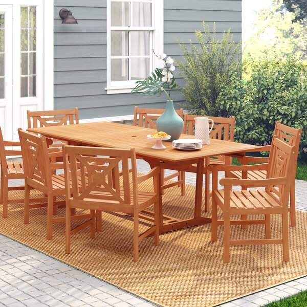 Amabel 9 Piece Solid Wood Dining Set by Beachcrest Home