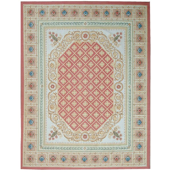 Aubusson Hand Woven Wool Red/Light Blue Area Rug by Pasargad