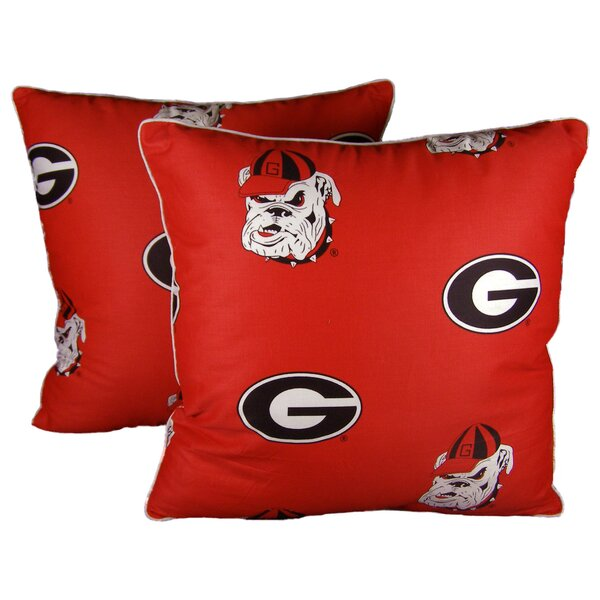 NCAA Georgia Cotton Throw Pillow (Set of 2) by College Covers