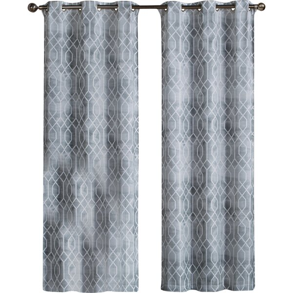 Andreas Geometric Room Darkening Grommet Curtain Panels (Set of 2) by Birch Lane™
