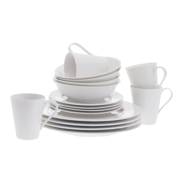 White Basics Cosmopolitan 16 Piece Dinnerware Set, Service for 4 by Maxwell & Williams