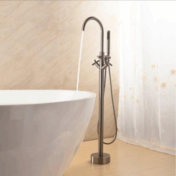 Double Handle Floor Mounted Clawfoot Tub Faucet with Diverter and Handshower by MTD Vanities MTD Vanities
