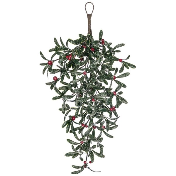 Mistletoe with Red Berry Snow Teardrop Swag (Set of 2) by The Holiday Aisle