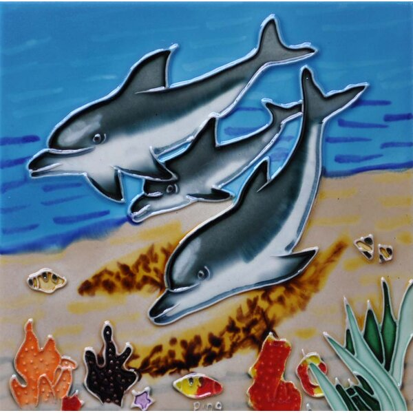 3 Dolphins In Water Tile Wall Decor by Continental Art Center