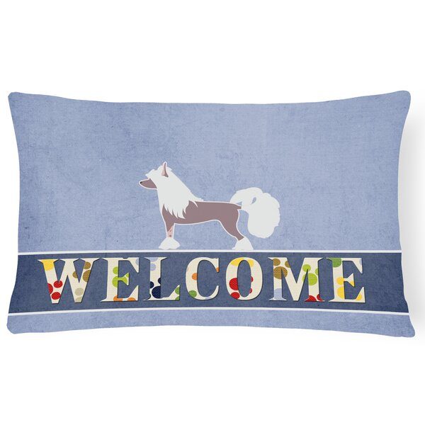 Duquette Chinese Crested Welcome Lumbar Pillow by Red Barrel Studio
