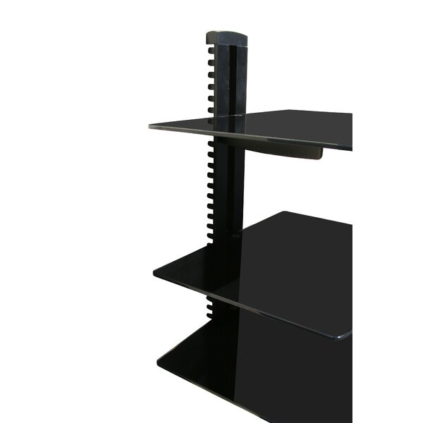 Wall Mounted AV Component Shelving System with 3 Adjustable Tempered Glass Shelves by Mount-it