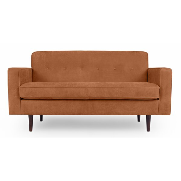 Mickey Mid-Century Leather Loveseat by Corrigan Studio