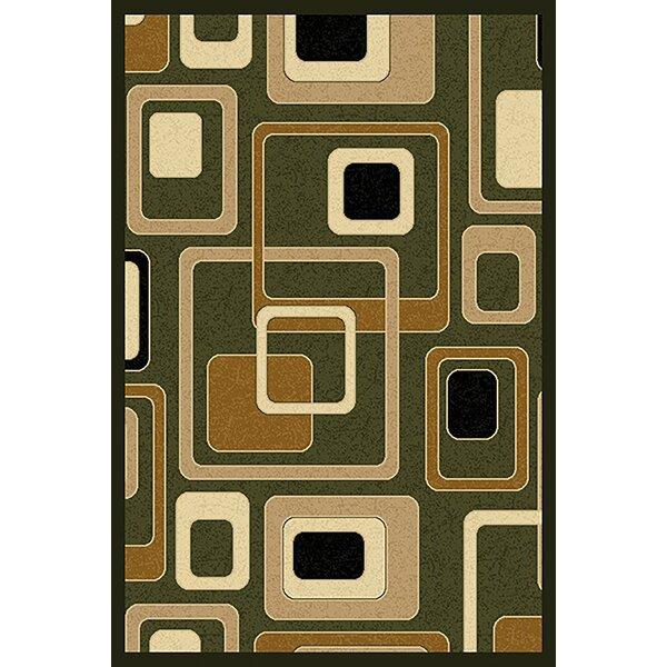 Cosper Green/Beige Area Rug by Ebern Designs