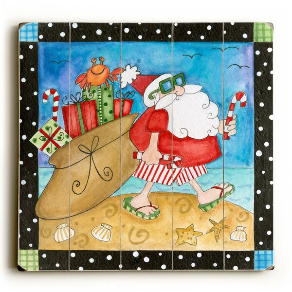 Santa in Flip Flops Graphic Art Plaque by The Holi