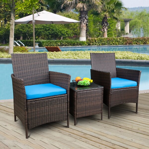 Patio 3 Piece Rattan 2 Person Seating Group by Ebern Designs