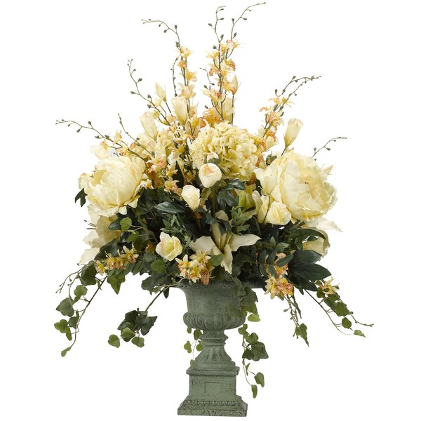Hydrangeas, Peonies, Lilies and Lisianthus Floral Arrangement in Urn by Astoria Grand