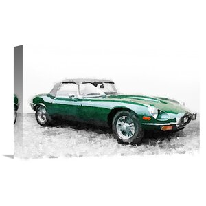 '1961 Jaguar E-Type Watercolor' Painting Print on Wrapped Canvas by Naxart
