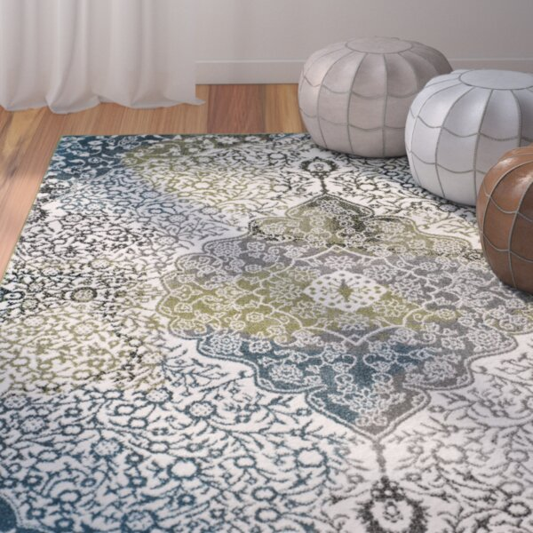 Nakano Beige/Blue Area Rug by Bungalow Rose