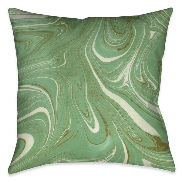 Castellon Green Marble Indoor/Outdoor Throw Pillow