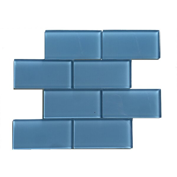 Premium Series 3 x 6 Glass Mosaic Tile in Glossy Ocean Blue by WS Tiles