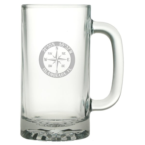 Galvez Compass Rose 16 oz. Glass Beer Mug (Set of 4) by Longshore Tides