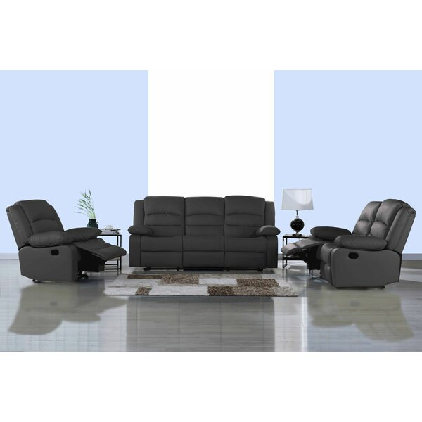 Best #1 Worthing Classic Reclining 3 Piece Leather Living Room Set By Ebern Designs Reviews