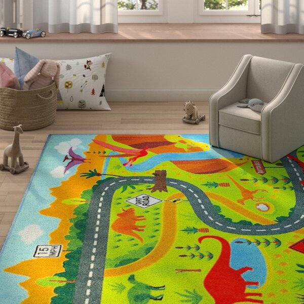 Weranna Dinosaur Dino Safari Road Map Educational Learning Green/Blue Indoor/Outdoor Area Rug by Zoomie Kids