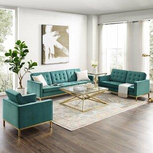 Cassian Velvet Living Room Set by Gold Flamingo
