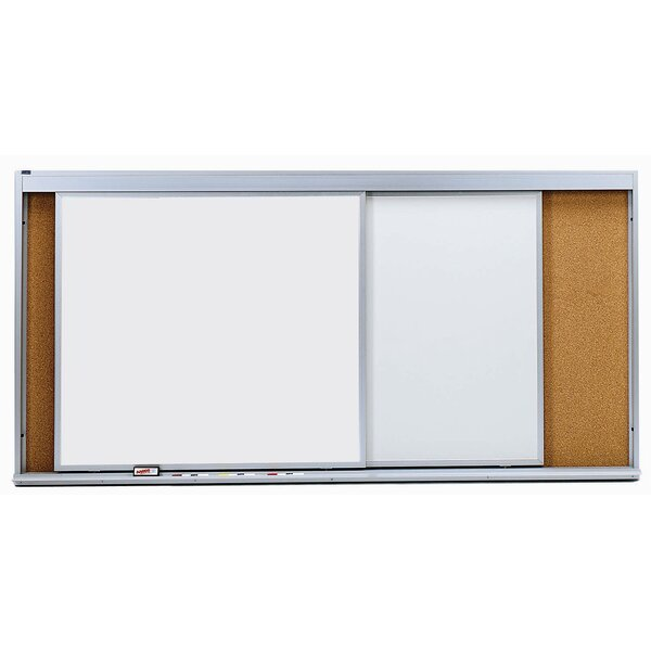 Horizontal Sliding Unit Combination Wall Mounted Whiteboard by AARCO