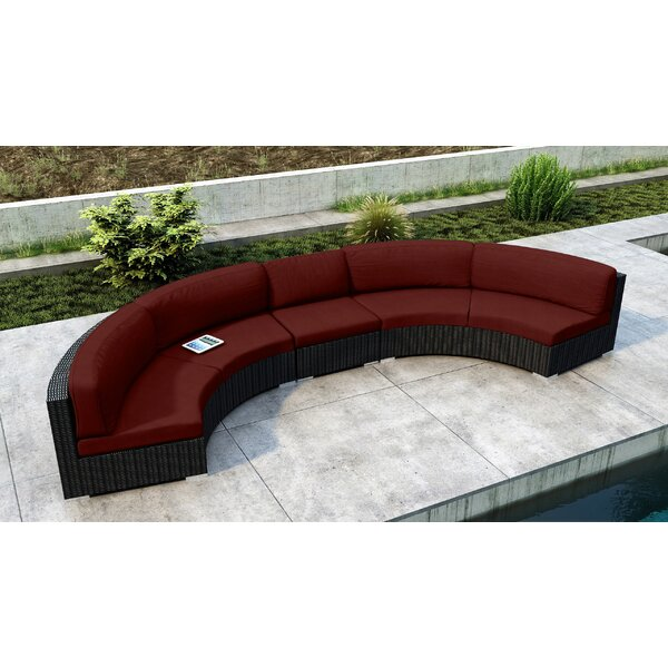 Glendale 3 Piece Rattan Sectional Seating Group with Cushions