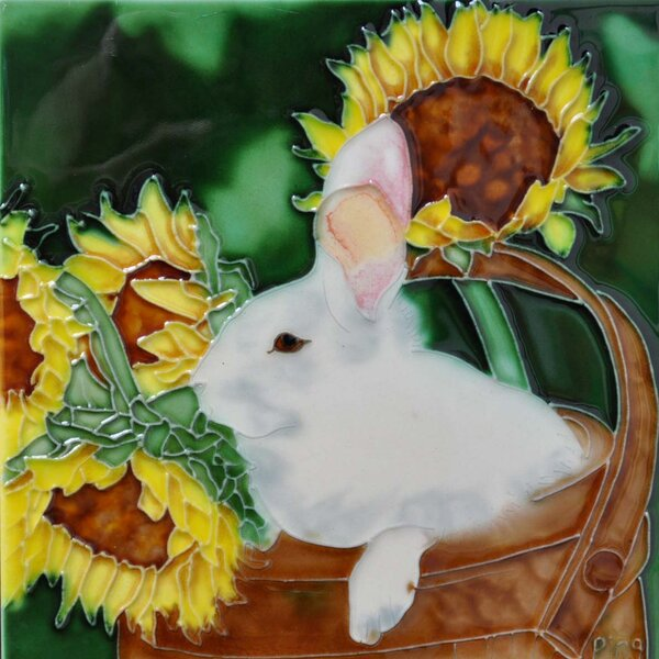 Rabbit with Sunflower Tile Wall Decor by Continental Art Center