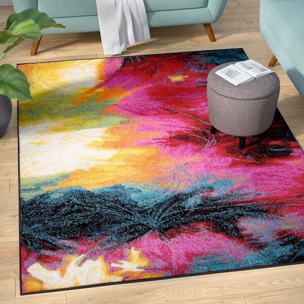 Brannigan Black/Pink Area Rug by Mercury Row