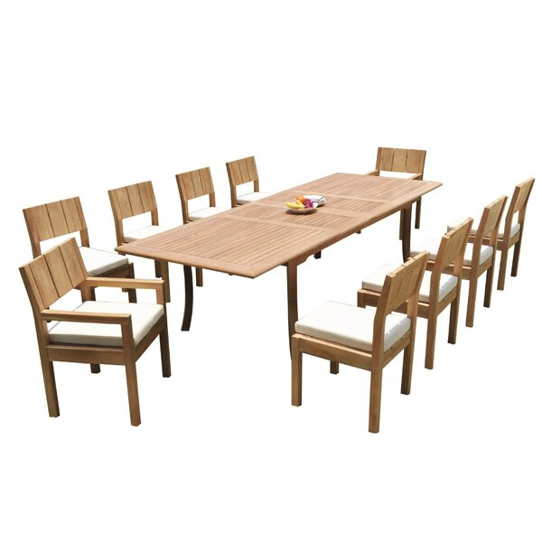 Illinois 11 Piece Teak Dining Set by Rosecliff Heights