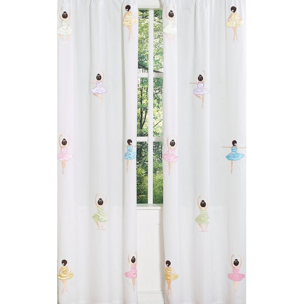Ballerina Graphic Print & Text Semi-Sheer Rod pocket Curtain Panels (Set of 2) by Sweet Jojo Designs