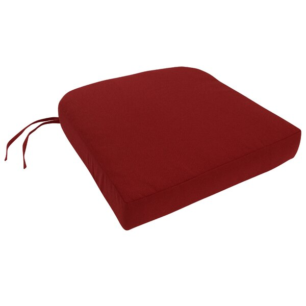 Knife Edge Indoor/Outdoor Sunbrella Contour Chair Cushion with Ties and Zippered by Three Posts