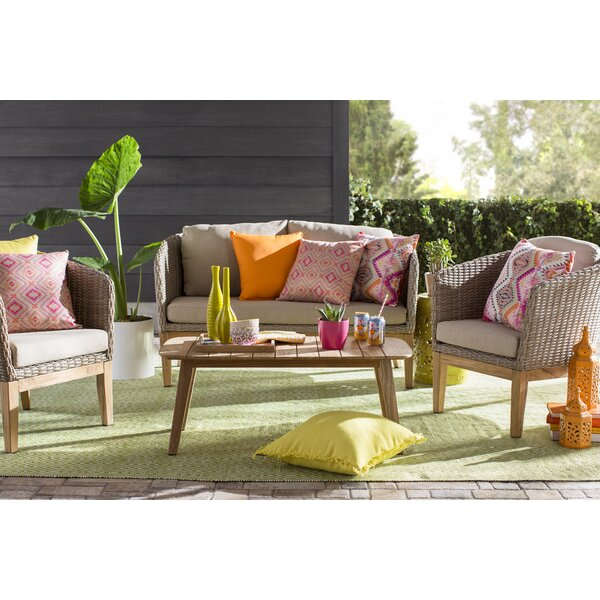 Patterson 4 Piece Teak Sofa Set with Cushions by Gracie Oaks