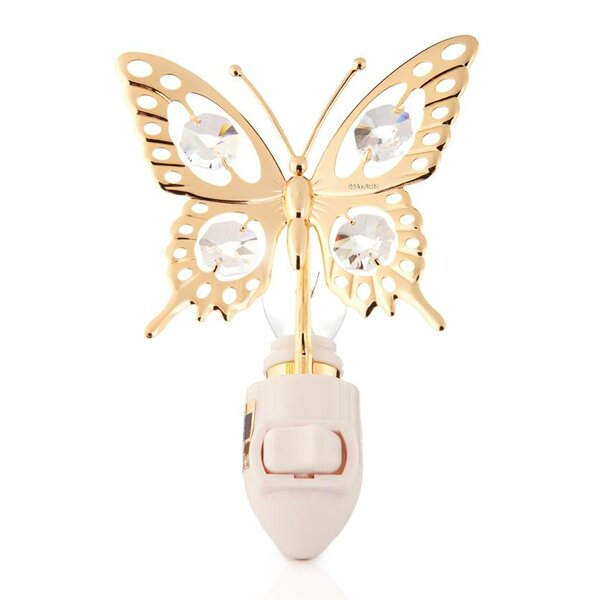 24K Gold Plated Butterfly Night Light by Matashi Crystal