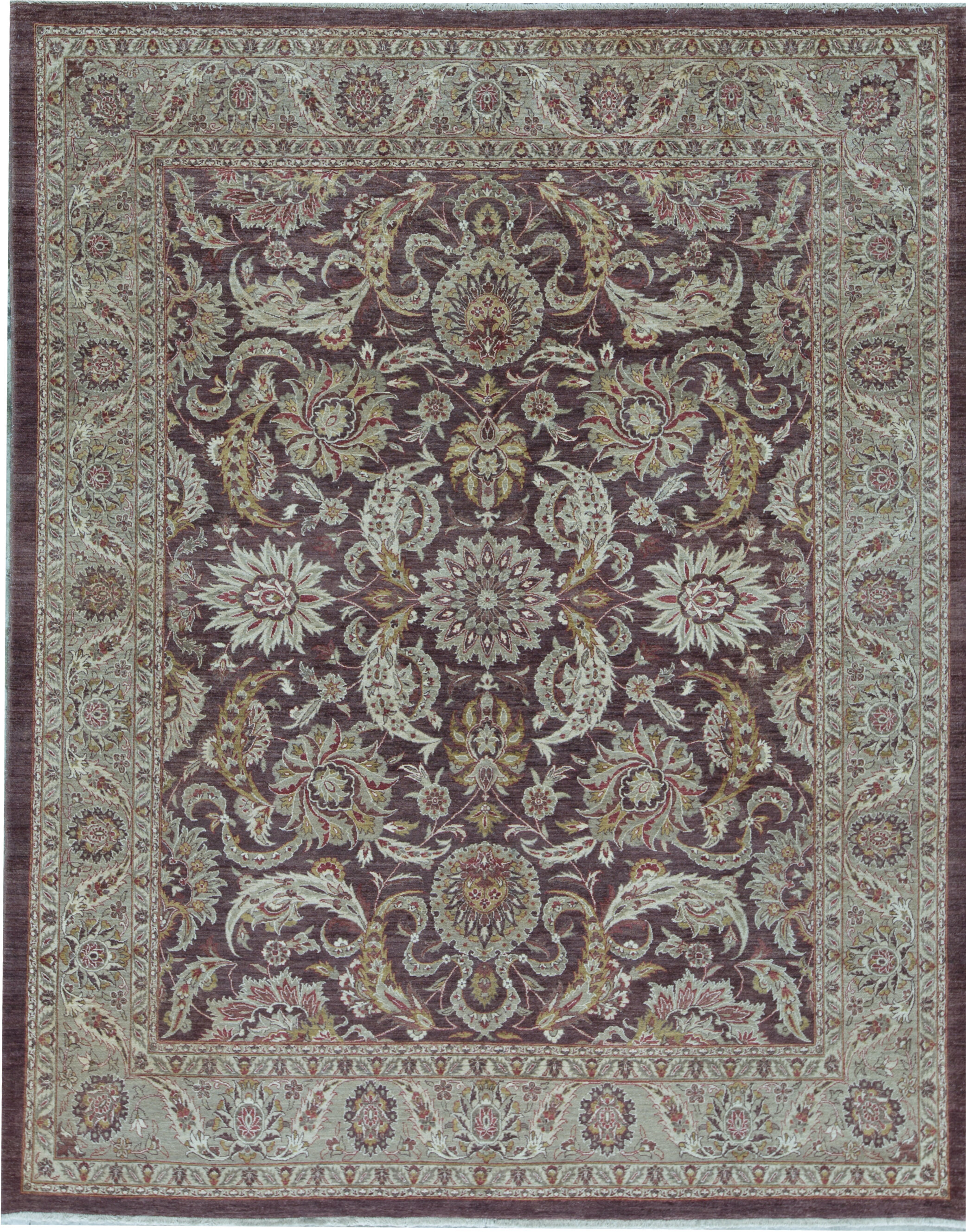 Bokara Rug Co Inc Hadji Oriental Hand Knotted Wool Aubergine Green Area Rug Wayfair