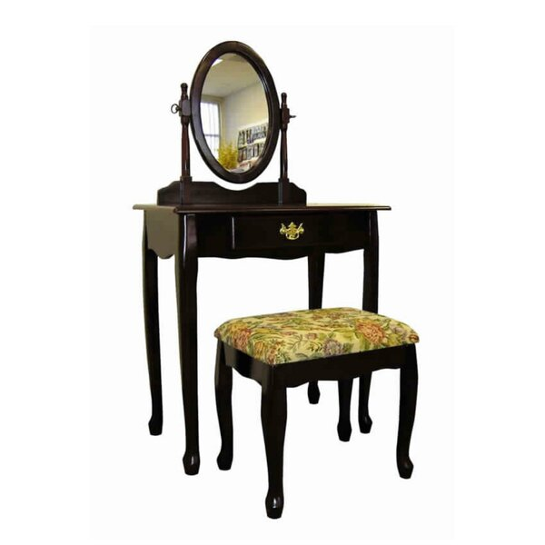 Gateshead Wooden Vanity Set With Stool And Mirror By Canora Grey
