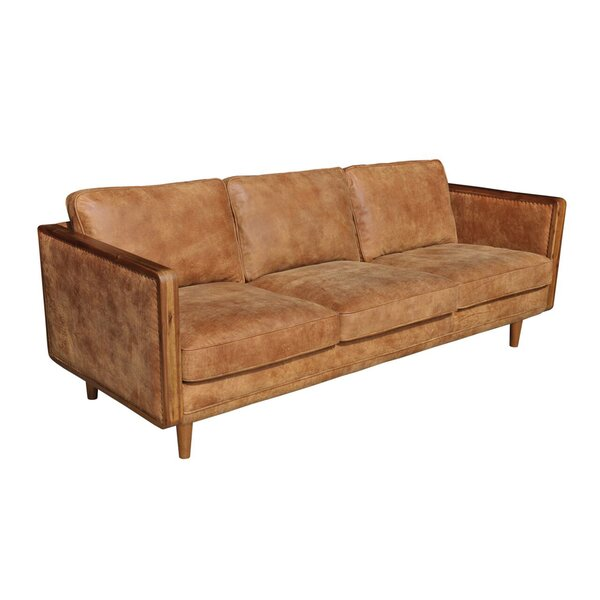 #1 Lang Leather Sofa By Union Rustic Today Sale Only