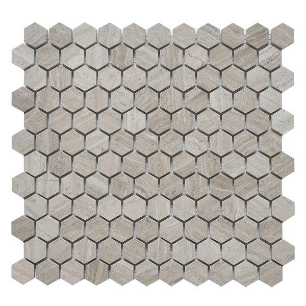 Hexagon 1 x 1 Marble Mosaic Tile in White Oak by Matrix Stone USA