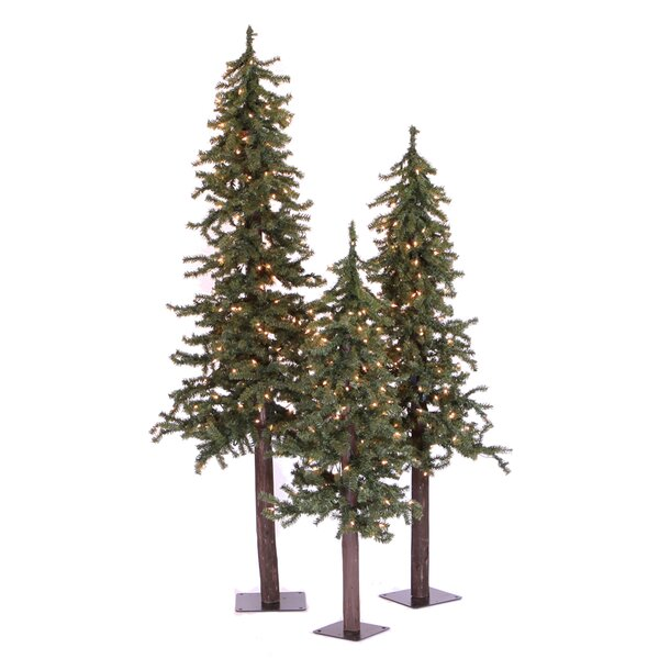 Natural Alpine Green Artificial Christmas Tree with 185 Multicolored Lights with Stand by The Holiday Aisle