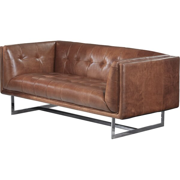 Gulielma Leather Chesterfield Loveseat by 17 Stories