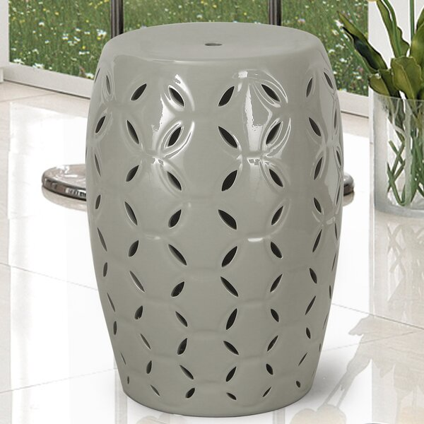 Lattice Ceramic Garden Stool by Adeco Trading