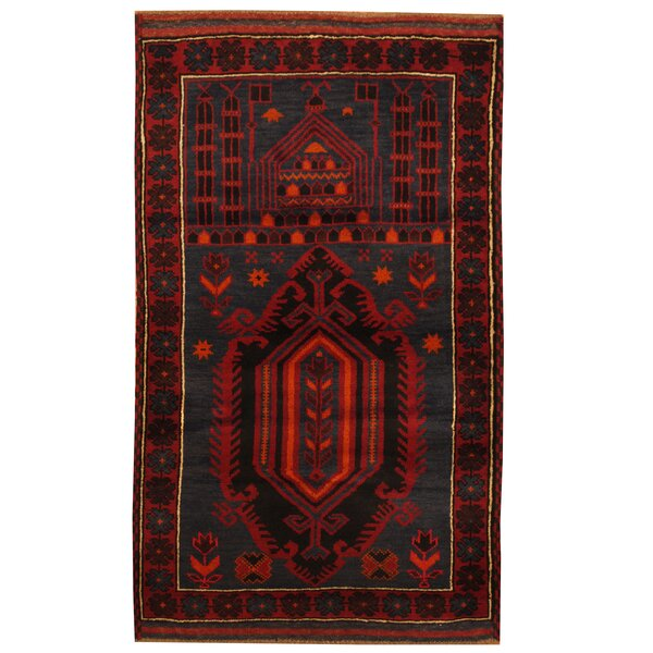 One-of-a-Kind Cudney Balouchi Hand-Knotted Wool Navy/Red Area Rug by World Menagerie