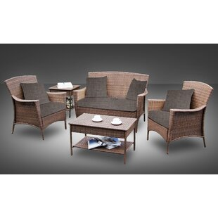 Hudson 5 Piece Rattan Sofa Set with Cushions By Best Desu, Inc.