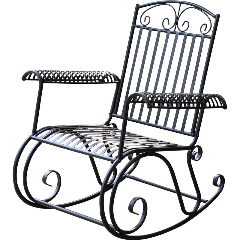 Snowberry Iron Outdoor Porch Rocking Chair  sc 1 st  Wayfair & Three Posts Snowberry Iron Outdoor Porch Rocking Chair u0026 Reviews ...